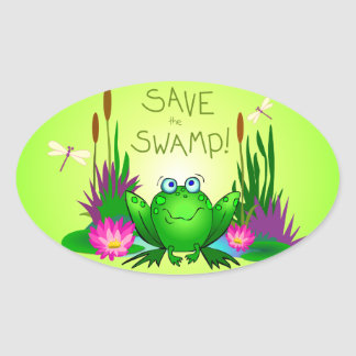Save the Swamp Twitchy the Frog Oval Sticker