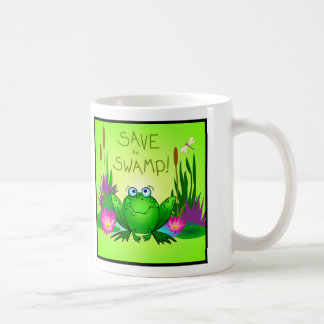 Save the Swamp Twitchy the Frog Wetlands Art Coffee Mug
