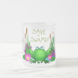 Save the Swamp Wetland Conservation Twitchy Frog Frosted Glass Coffee Mug