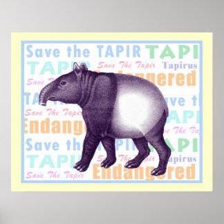 Save the Tapir Poster - Asian Tapir
