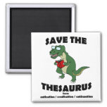 Save The Thesaurus Dinosaur 2 Inch Square Magnet