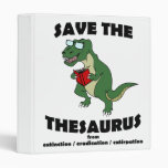 Save The Thesaurus Dinosaur 3 Ring Binders