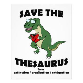 Save The Thesaurus Dinosaur Flyer