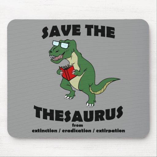 Save The Thesaurus Dinosaur Mouse Pad
