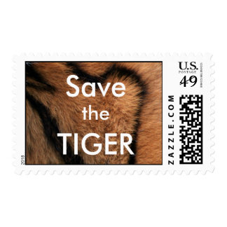 Save the tiger authentic fur postage stamp