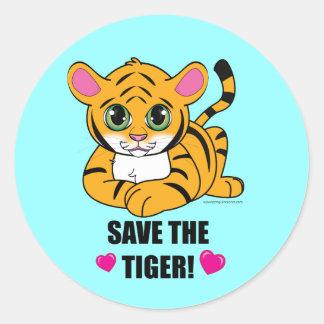 Save the tiger! classic round sticker