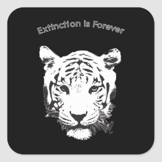 Save the Tiger Extinction is Forever Square Sticker