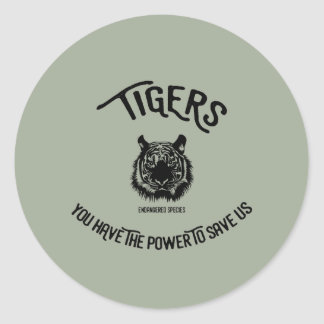 Save the tigers endangered species sticker