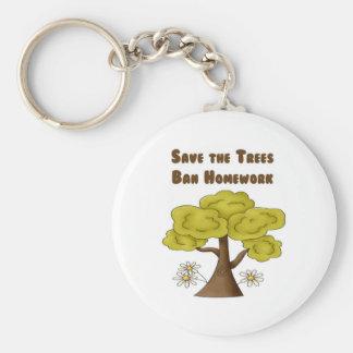 Save the Trees Ban Homework Keychains