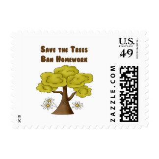 Save the Trees Ban Homework Postage Stamp
