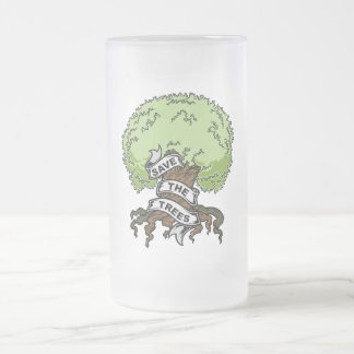 Save The Trees Frosted Glass Beer Mug