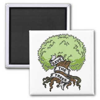 Save The Trees 2 Inch Square Magnet