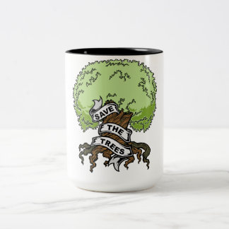 Save The Trees Two-Tone Coffee Mug