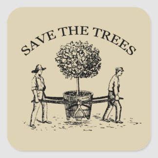Save the Trees Vintage Illustration Sticker 1