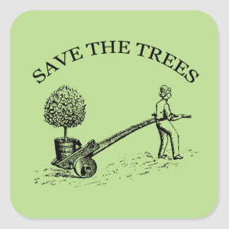 Save the Trees Vintage Illustration Sticker 2