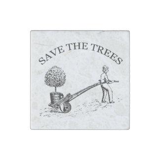 Save the Trees Vintage Illustration Stone Magnet 2