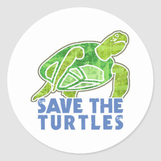 Save the Turtles Classic Round Sticker