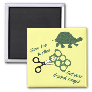 Save the Turtles Cut Six Pack Rings 2 Inch Square Magnet