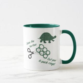 Save the Turtles Cut Six Pack Rings Mug