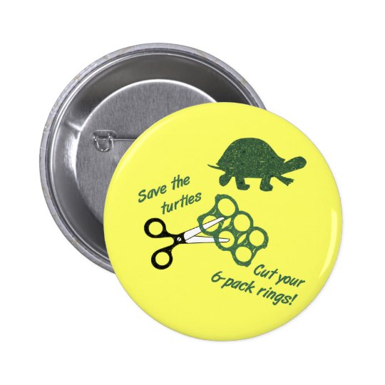 Save the Turtles Cut Six Pack Rings Pinback Button