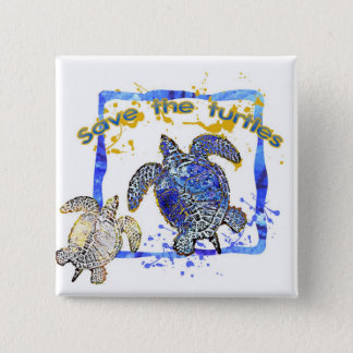Save the turtles pinback button