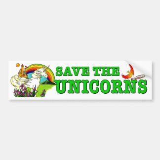 Save The Unicorns. Endangered mythical horse funny Bumper Sticker