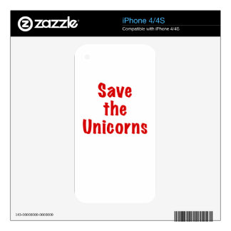 Save the Unicorns iPhone 4 Decals