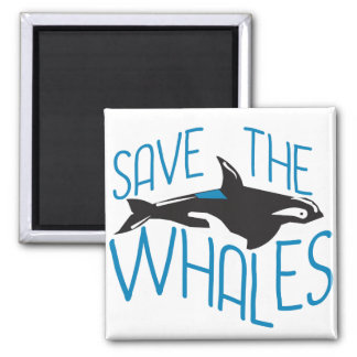 Save the Whales 2 Inch Square Magnet