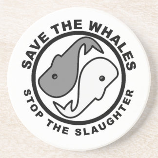 Save the Whales - Animal Rights Sandstone Coaster