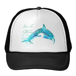 Save the Whales Blue Hat