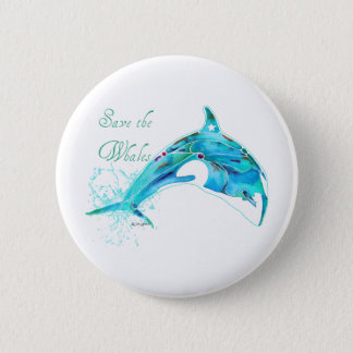 Save the Whales Blue Pinback Button