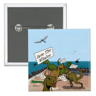 Save the Whales Cartoon Buttons