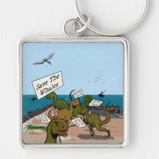 Save the Whales Cartoon Keychain