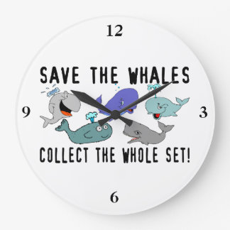 Save The Whales Collect The Whole Set Large Clock