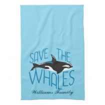 Save the Whales Custom Blue Kitchen Towel