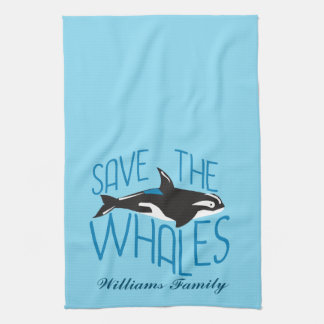 Save the Whales Custom Blue Towels