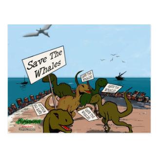 Save the Whales Dinosaur Postcard
