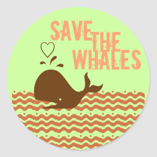 Save The Whales - Environmentally Conscious Classic Round Sticker