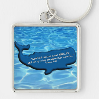 Save the Whales Merchandise 100% royalties Donated Silver-Colored Square Keychain
