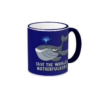 Save the whales motherfuckers ringer mug