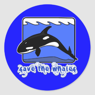 Save the Whales Orcas Products Classic Round Sticker