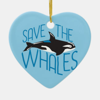 Save the Whales Double-Sided Heart Ceramic Christmas Ornament