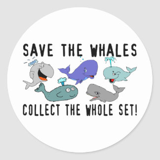 Save The Whales Set Classic Round Sticker