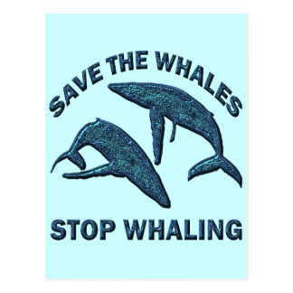 SAVE THE WHALES STOP WHALING POST CARD