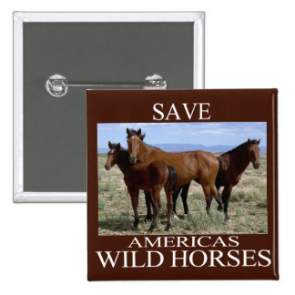 Save the Wild Horses Pinback Button