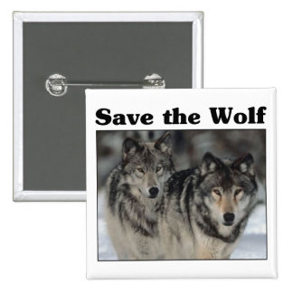 Save the Wolf 2 Inch Square Button