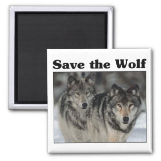 Save the Wolf 2 Inch Square Magnet