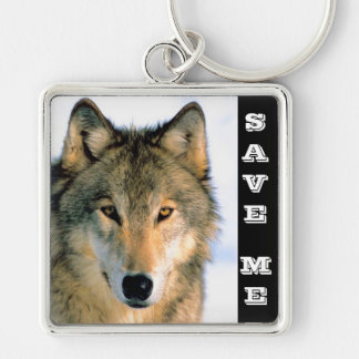 SAVE THE WOLF Silver-Colored SQUARE KEYCHAIN