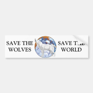 Save the Wolves Car Bumper Sticker