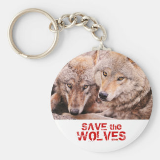 Save the Wolves Basic Round Button Keychain